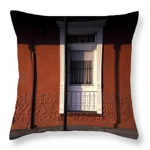 French Quarter Throw Pillow featuring the photograph French Quarter Door And Shadows New Orleans by Mike Nellums