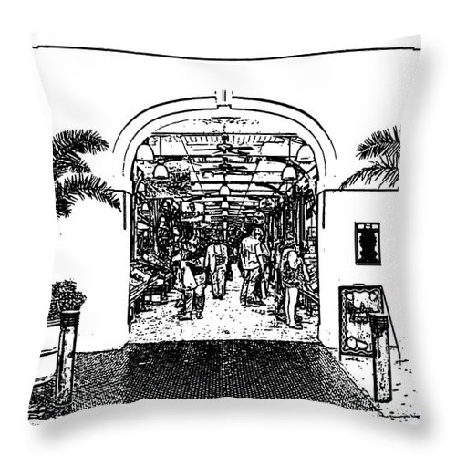 New Orleans Throw Pillow featuring the digital art French Quarter French Market Entrance New Orleans Stamp Digital Art by Shawn O'Brien