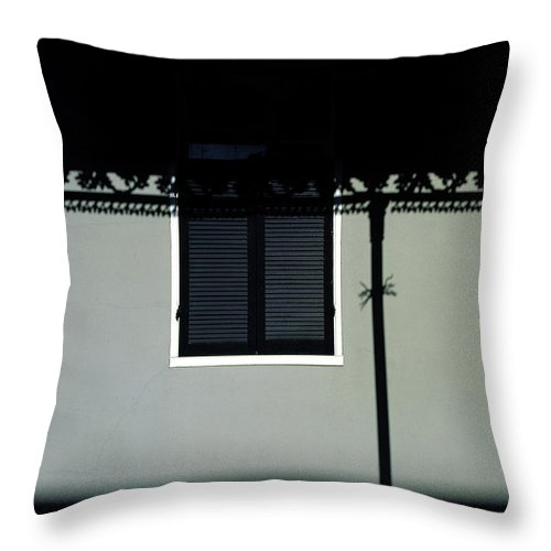 French Quarter Throw Pillow featuring the photograph French Quarter Shutter And Shadows by Mike Nellums