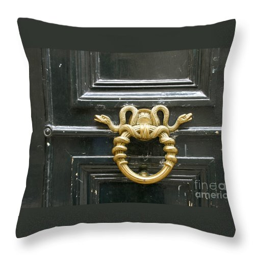 Digital Throw Pillow featuring the photograph French Snake Doorknocker by Victoria Harrington