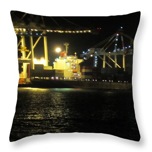 Night Throw Pillow featuring the photograph Freo Port By Night by Roberto Gagliardi