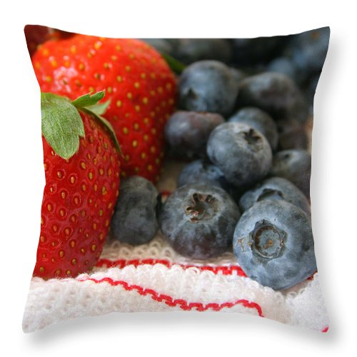 Fruit Throw Pillow featuring the photograph Fresh Berries by Darren Fisher
