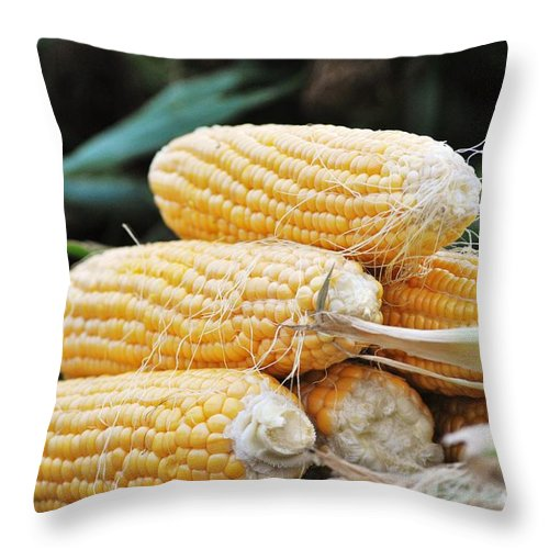 Vegetable Throw Pillow featuring the pyrography Fresh Corn by Frank Larkin