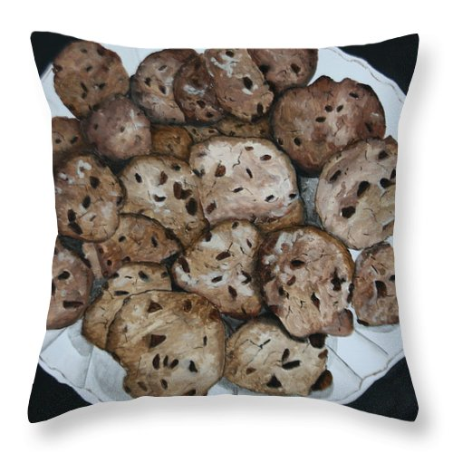 Cookies Throw Pillow featuring the painting Fresh From The Oven by Betty-Anne McDonald