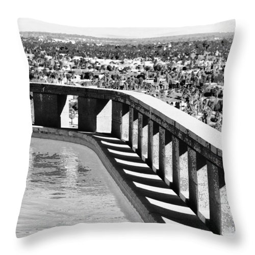 Frey Throw Pillow featuring the photograph Frey Pool Bw Palm Springs by William Dey