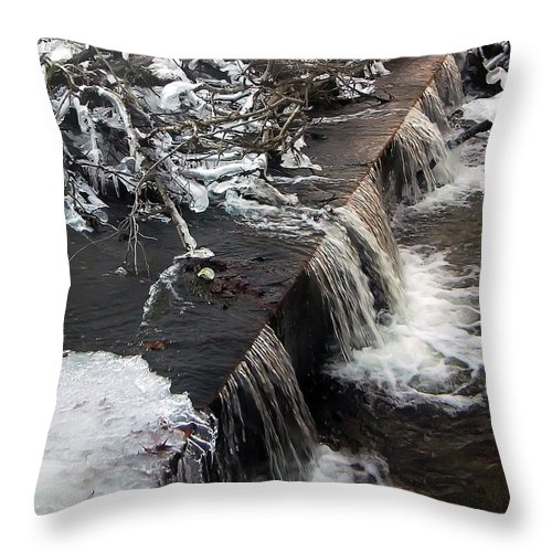 2d Throw Pillow featuring the photograph Frigid Falls by Brian Wallace