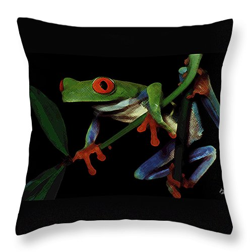 Frog Throw Pillow featuring the photograph Frog by Stephanie Haertling