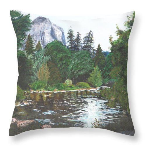 Yosemite Throw Pillow featuring the painting Frog's Eye View by Travis Day