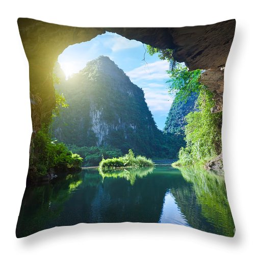 Grotto Throw Pillow featuring the photograph From The Grotto by MotHaiBaPhoto Prints