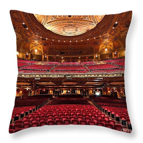 Shea's Buffalo Theater Throw Pillow featuring the photograph From The Stage by Phil Pantano
