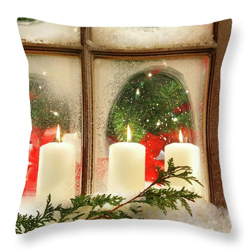 Background Throw Pillow featuring the photograph Frosted Window by Sandra Cunningham
