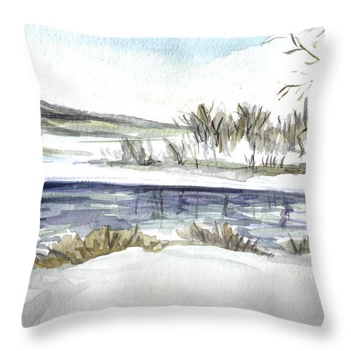 Ice Throw Pillow featuring the painting Frozen by Clara Sue Beym