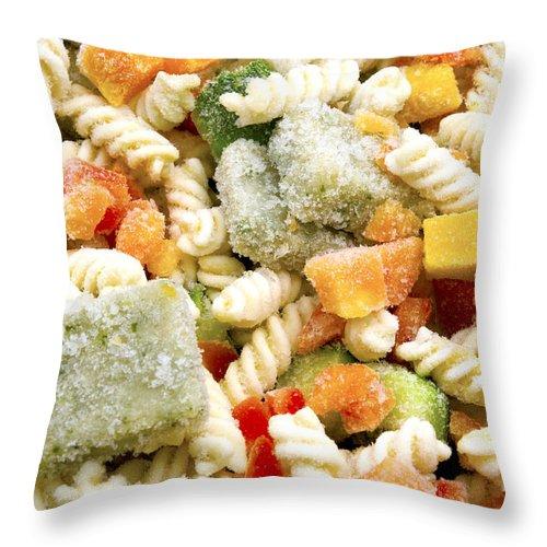Macro Throw Pillow featuring the photograph Frozen Pasta by Fabrizio Troiani