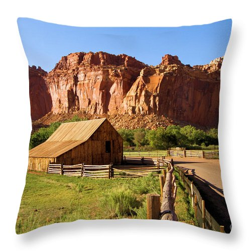 Capitol Reef National Park Throw Pillow featuring the photograph Fruita Historic District by Adam Jewell