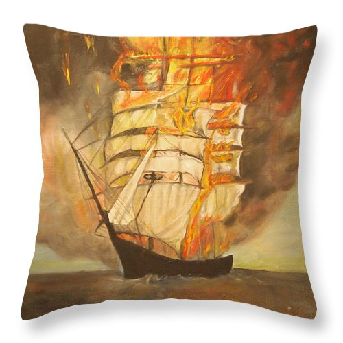 Fire Throw Pillow featuring the painting Fuego Al Mar by Veronica Zimmerman