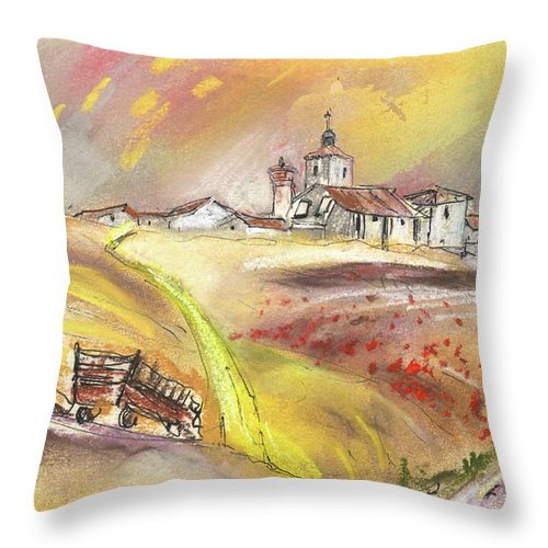 Spain Throw Pillow featuring the painting Fuente Del Cuellar In Spain by Miki De Goodaboom