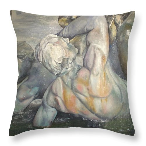 Art Fine Throw Pillow featuring the painting Fuente Girondins by Tomas Castano