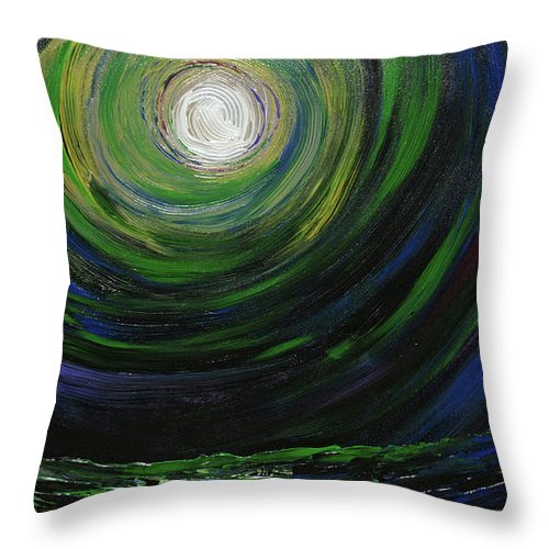 Full Moon Throw Pillow featuring the painting Full Moon Over The Sea by Erik Tanghe