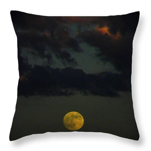 Full Throw Pillow featuring the photograph Full Moon Sunset by Henry Murray