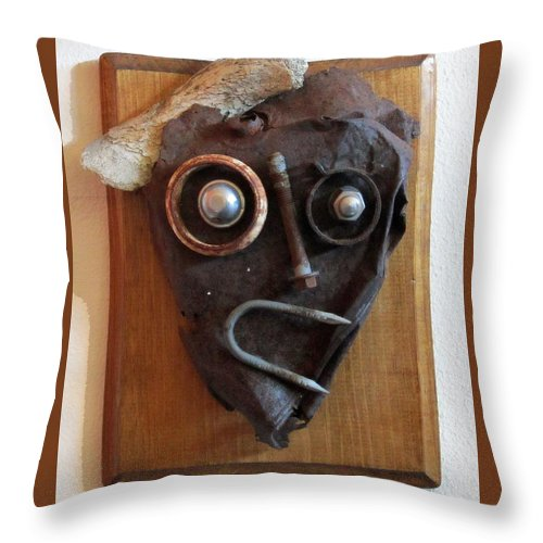 Sculpture Throw Pillow featuring the sculpture Funny Bone by Snake Jagger