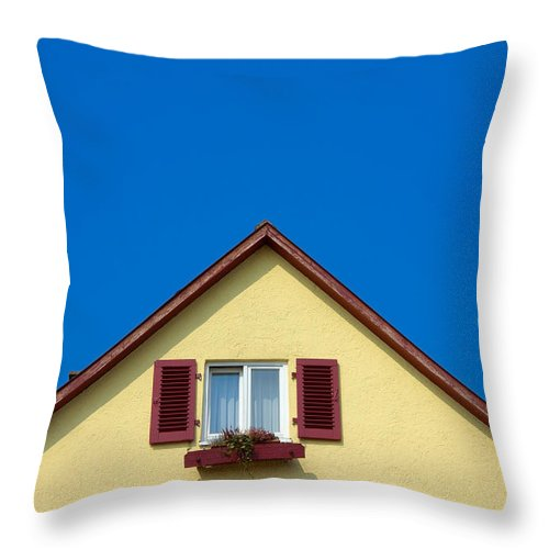 House Throw Pillow featuring the photograph Gable Of Beautiful House In Front Of Blue Sky by Matthias Hauser