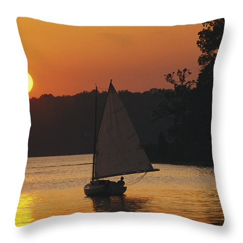North America Throw Pillow featuring the photograph Gaff-rigged Catboat Sails by Skip Brown