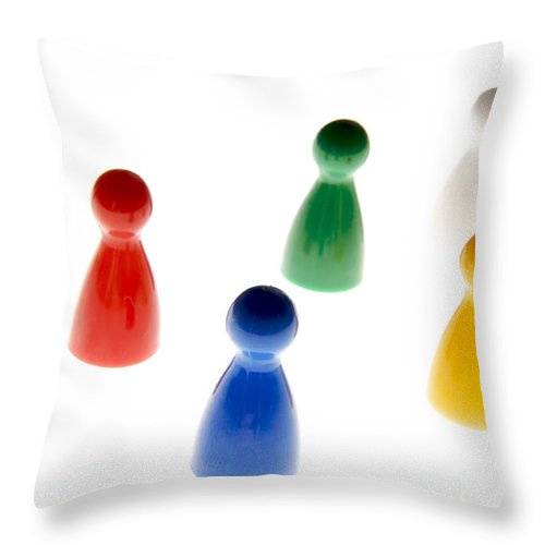 Varying Throw Pillow featuring the photograph Game Pieces In Various Colours by Bernard Jaubert