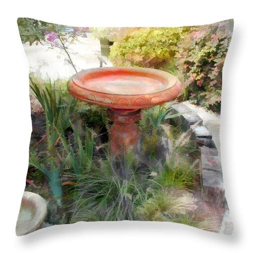 Throw Pillow featuring the painting Garden Birdbath by Elaine Plesser