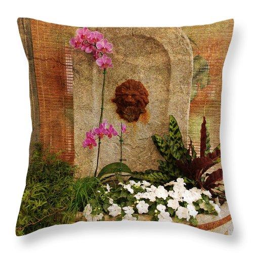 Flower Throw Pillow featuring the photograph Garden Deco by Susanne Van Hulst