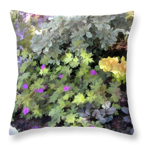 Flower Flowers Garden Ground+cover Flower+border Edging Flora Floral Nature Natural Bloom Blooms Blossoms Blossom Bouquet Arrangement Colorful Plant Plants Botanical Botanic Blooming Gardens Gardening Tropical Annual Annuals Perennial Perennials Bulb Bulbs Throw Pillow featuring the painting Garden Flower Border by Elaine Plesser
