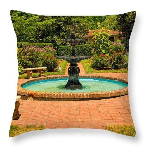 Fountain Throw Pillow featuring the photograph Garden Fountain 03 by Cindy Haggerty