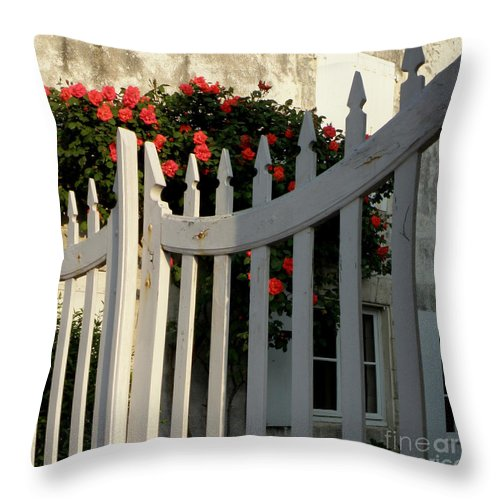 Roses Throw Pillow featuring the photograph Garden Gate by Lainie Wrightson