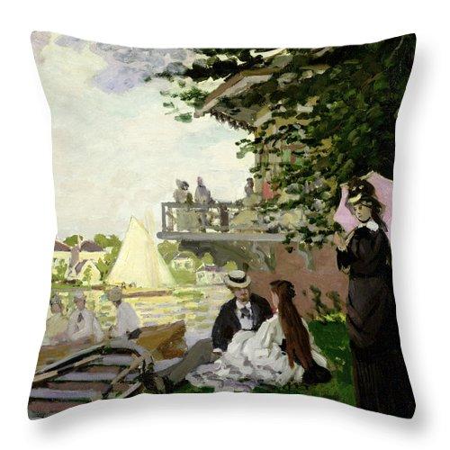 Garden Throw Pillow featuring the painting Garden House On The Zaan - Zaandam by Claude Monet