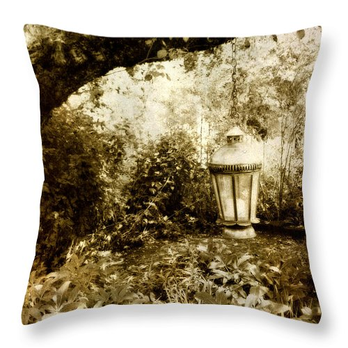 Sepia Throw Pillow featuring the photograph Garden Lantern by Bonnie Bruno