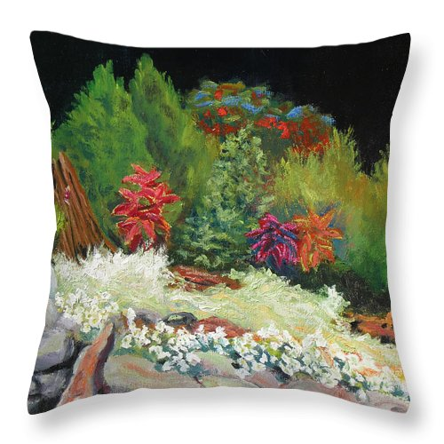 Landscape Throw Pillow featuring the painting Garden Night Scene by Robert P Hedden