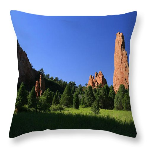 Garden Of The Gods Throw Pillow featuring the photograph Garden Of The Gods by Garry McMichael