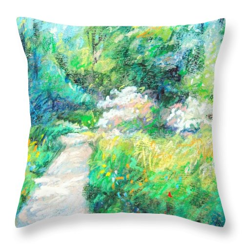 Garden Throw Pillow featuring the painting Garden Path by Bethany Bryant