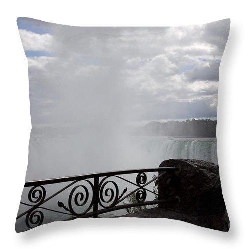 Niagara Throw Pillow featuring the photograph Gate to Fall by Amanda Barcon