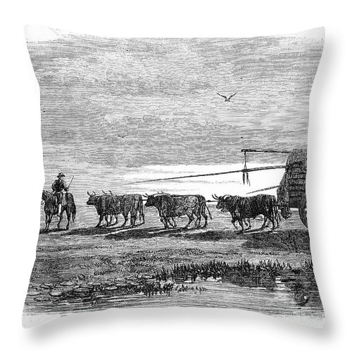 1858 Throw Pillow featuring the photograph Gauchos, 1858 by Granger