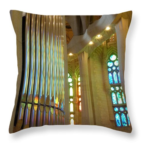 Sagrada Familia Throw Pillow featuring the photograph Gaudi's Vision by Christine Burdine