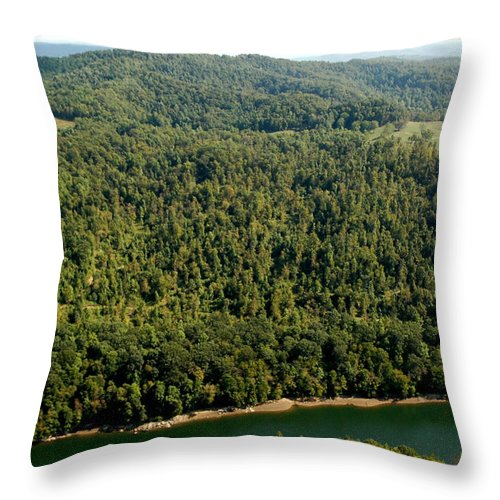 Usa Throw Pillow featuring the photograph Gauley River Aerial View by Thomas R Fletcher