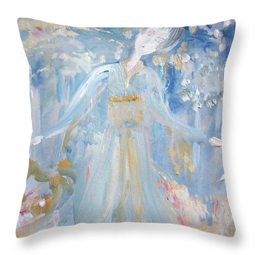 Rain Throw Pillow featuring the painting Geisha In The Rain Garden by Judith Desrosiers