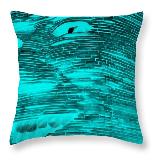 Architecture Throw Pillow featuring the photograph Gentle Giant In Negative Turquois by Rob Hans