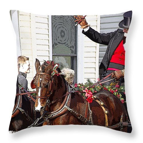 lebanon Horse Carriage Parade Throw Pillow featuring the photograph Gentleman Driver by Jenny Gandert
