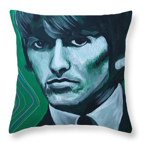 Beatles Throw Pillow featuring the painting George Harrison by Kate Fortin