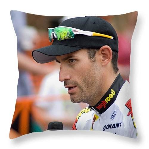 America Throw Pillow featuring the photograph George Hincapie Interview by Susan Leggett