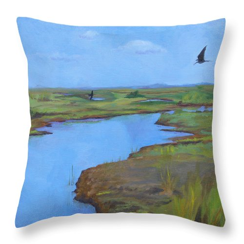Georgia Marsh Throw Pillow featuring the painting Georgia Marsh by Rachel Hames
