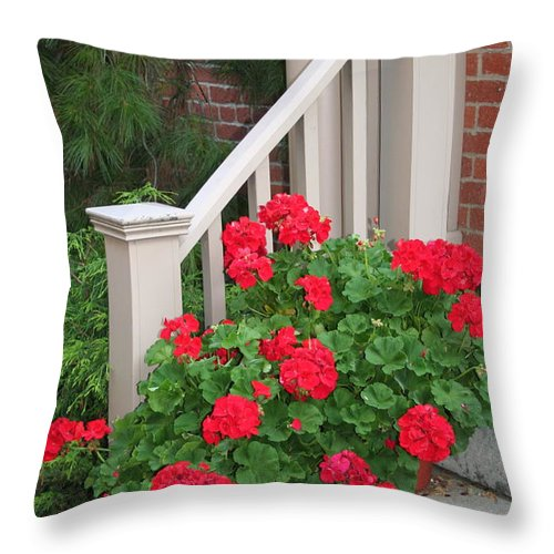 Geranium Throw Pillow featuring the photograph Geraniums On The Steps by Laurel Talabere
