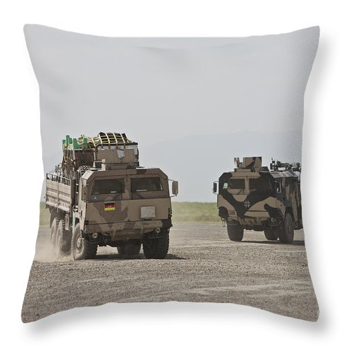 Man Pritsche Throw Pillow featuring the photograph German Army Man 7t Mil Gl 6x6 Pritsche by Terry Moore