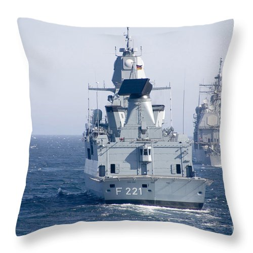 Military Throw Pillow featuring the photograph German Frigate Ffg Hessen And Uss by Stocktrek Images